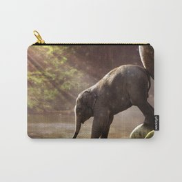 Baby Elephant & Mama at Watering Hole Carry-All Pouch