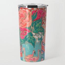 Roses in Enamel Flamingo Vase Travel Mug