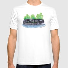 Water Living in Amsterdam by Charlotte Vallance White Mens Fitted Tee MEDIUM