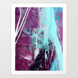 01012: a vibrant abstract piece in teal and ultraviolet Art Print