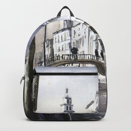 Church steeple in medieval city of Venice, Italy.  Fine art watercolor Venice artwork Italy painting Backpack