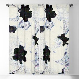 Black and White Floral with a Whisper of Color Blackout Curtain