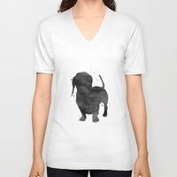 dachshund V-neck T-shirts featuring Dachshund by Carma Zoe