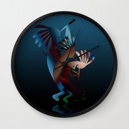 Kokopelli Flute Blue Wall Clock