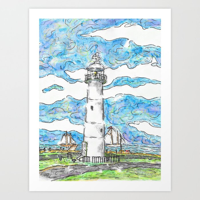 Biloxi Lighthouse In Watercolor Art Print By Cainclement Society6
