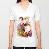 david tennant V-neck T-shirts featuring David Tennant / Tenth Doctor Mixed Media Digital Painting by Purshue