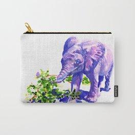 Big Boy, Purple Elephant painting of baby elephant living at David Sheldrik Wildlife Trust in Kenya Carry-All Pouch