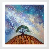 Lone Tree and Milky Way Art Print