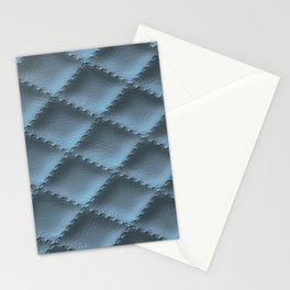 Quilted leather effect (blue metal) Stationery Cards