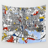 baltimore Wall Tapestries featuring Baltimore Mondrian by Mondrian Maps