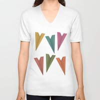 planes V-neck T-shirts featuring Paper Planes by coalotte