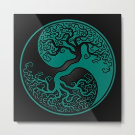 Teal Blue and Black Tree of Life Yin Yang Metal Print