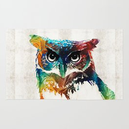 Colorful Owl Art - Wise Guy - By Sharon Cummings Rug
