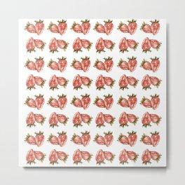 Watercolor Strawberry Pattern Metal Print