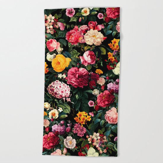 Floral D Beach Towel