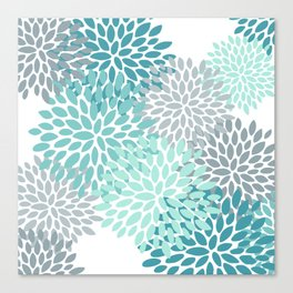 Floral Pattern, Aqua, Teal, Turquoise and Gray Canvas Print