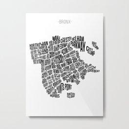 The Bronx, White Metal Print