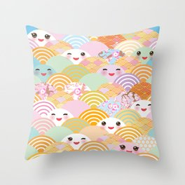 seamless pattern Kawaii with pink cheeks and winking eyes with japanese sakura flower Throw Pillow