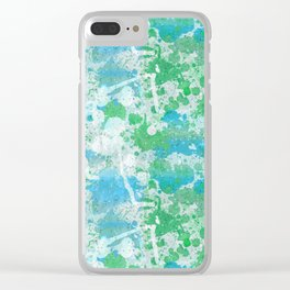 Abstract Paint Splatters Blue and Green Clear iPhone Case