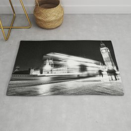 Bus passing Westminster B&W Rug