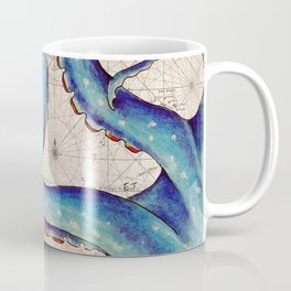 Octopus Tentacles Vintage Map Blue Coffee Mug