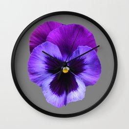 GREY MODERN ART SINGLE PURPLE PANSY Wall Clock