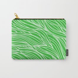 Grass Green Wave Lines Carry-All Pouch