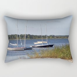 Sailboats moored in front of a natural beach.  Rectangular Pillow