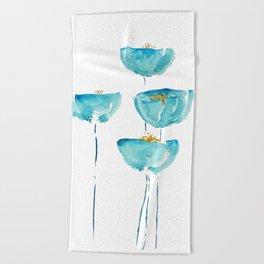 blue poppy watercolor Beach Towel