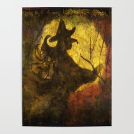 Witch on Moon Poster