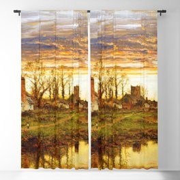 Peaceful Farmers Village At Swamps Ultra HD Blackout Curtain