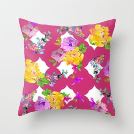 Bright florals with Pink Yarrow Throw Pillow