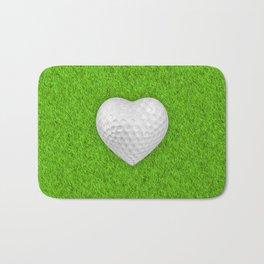 Golf ball heart / 3D render of heart shaped golf ball Bath Mat