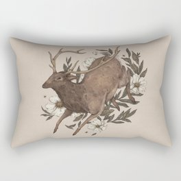 Floral Elk Rectangular Pillow