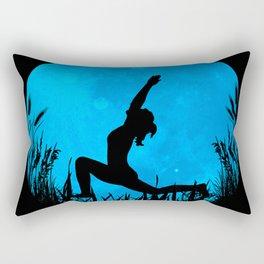 Yoga Moon Posture - Blue Rectangular Pillow