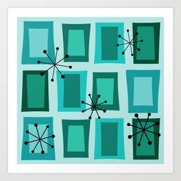 Mid Century Modern Art 'Wonky Doors' Turquoise Teal Art Print