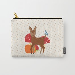 Brown Deer and Blue Butterfly Autumn Design Carry-All Pouch