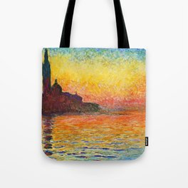 Claude Monet Sunset In Venice Tote Bag