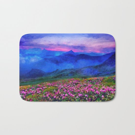 Flowering mountains in the clouds Bath Mat
