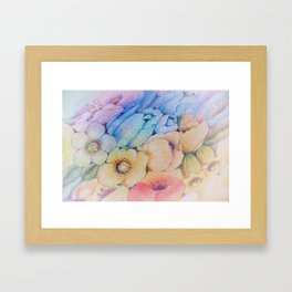 Summer fantasy with by hand drawn flowers. Framed Art Print