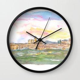 Assisi Skyline Italian Town at Sunset Wall Clock