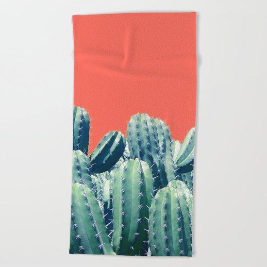 Cactus on Coral #society6 #decor #buyart Beach Towel