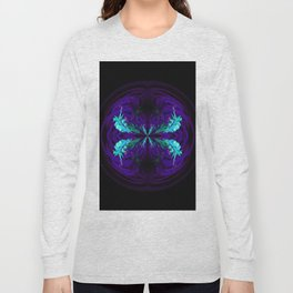 Blue flowered globe abstract Long Sleeve T-shirt