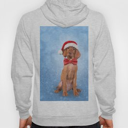 Drawing funny Vizsla pointer in red hat of Santa Claus Hoody
