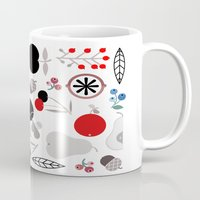 50s Mugs featuring Mushroom Berries Nuts and Fruits / Classic 50s pattern by In The Modern Era