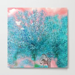 TREES AND ZEBRAS Metal Print