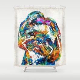 Colorful Shih Tzu Dog Art By Sharon Cummings Shower Curtain