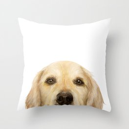 Golden retriever Dog illustration original painting print Throw Pillow