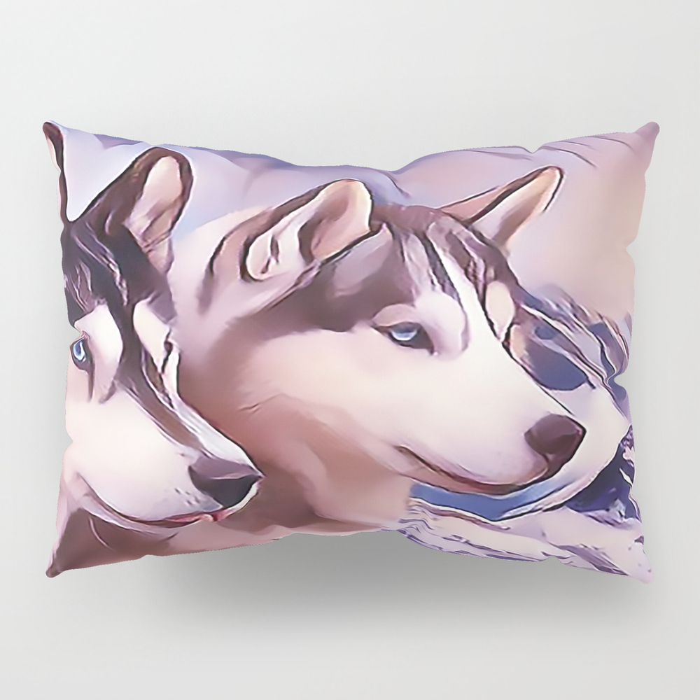 A Pair Of Siberian Huskys Pillow Sham by Sunleil PSH8870944