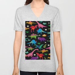 Joyful Dinosaurs World - BK Unisex V-Neck